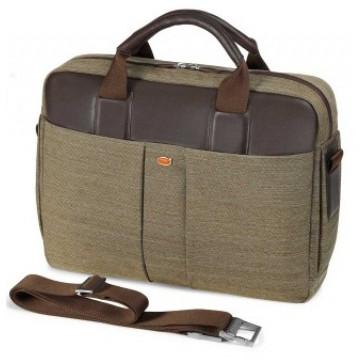 Geanta pentru laptop, olive, din piele de bovina si tesaturi, FEDON Jazz File-1