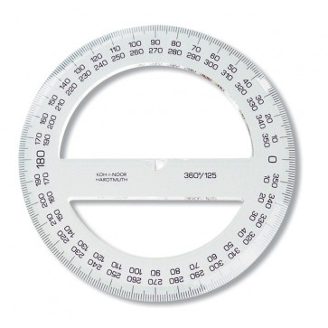 Raportor din plastic, 360º / 125mm, KOH-I-NOOR