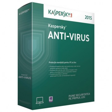 KASPERSKY Anti-Virus 2015, 1 an, 3 utilizatori, Retail