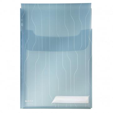 File din plastic, cu eticheta, albastru, 3 buc/set, LEITZ Jumbo CombiFile