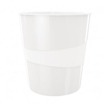 Cos de gunoi, 15 litri, alb metalizat, LEITZ WOW