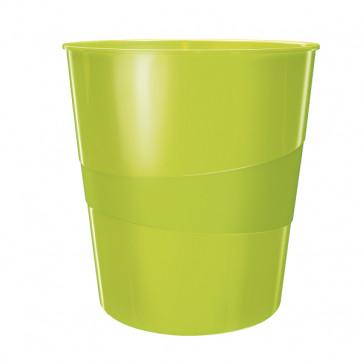 Cos de gunoi, 15 litri, verde metalizat, LEITZ WOW