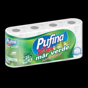 Hartie igienica, 3 straturi, imprimata, parfumata, 8 role/set, PUFINA Lux Mar Verde