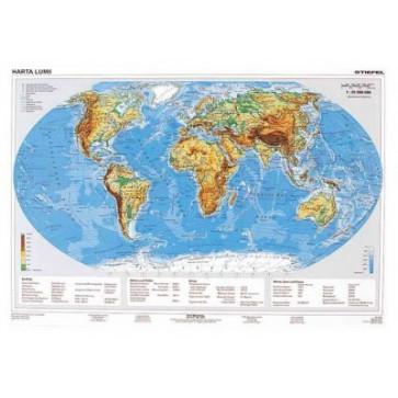 Mapa de birou, 70 x 50cm, harta Lumii Fizice, STIEFEL