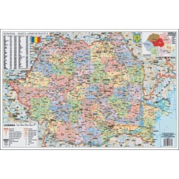 Mapa de birou, 70 x 50cm, harta Romaniei Administrative, STIEFEL