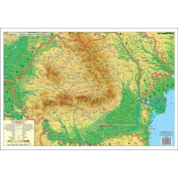 Mapa de birou, 70 x 50cm, harta Romaniei Fizice, STIEFEL