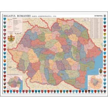 Mapa de birou, 70 x 50cm, harta Romaniei Interbelice, STIEFEL