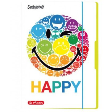 Mapa din carton, A4, cu elastic, albastru deschis, HERLITZ Smiley World Rainbow