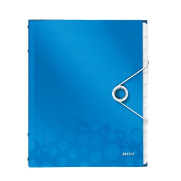 Mapa din plastic, A4, 12 separatoare, albastru metalizat, LEITZ WOW