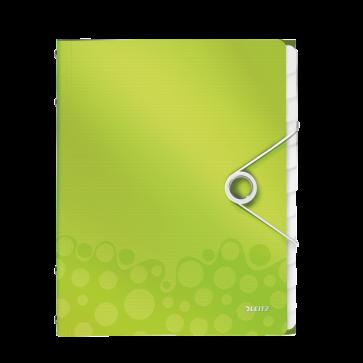 Mapa din plastic, A4, 12 separatoare, verde metalizat, LEITZ WOW