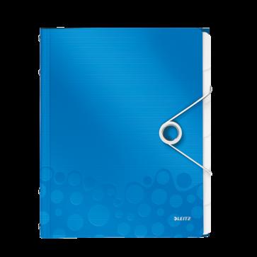Mapa din plastic, A4, 6 separatoare, albastru metalizat, LEITZ WOW