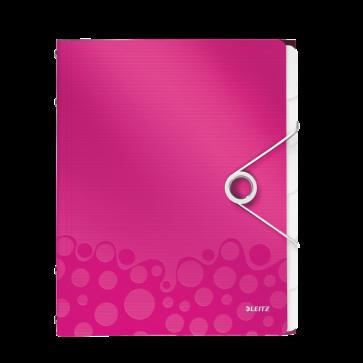 Mapa din plastic, A4, 6 separatoare, roz metalizat, LEITZ WOW