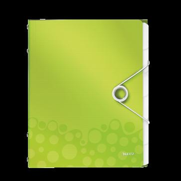 Mapa din plastic, A4, 6 separatoare, verde metalizat, LEITZ WOW