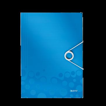 Mapa din plastic, A4, cu elastic, albastru metalizat , LEITZ WOW