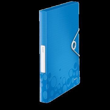 Mapa din plastic, A4, cu elastic, albastru metalizat, LEITZ WOW Jumbo