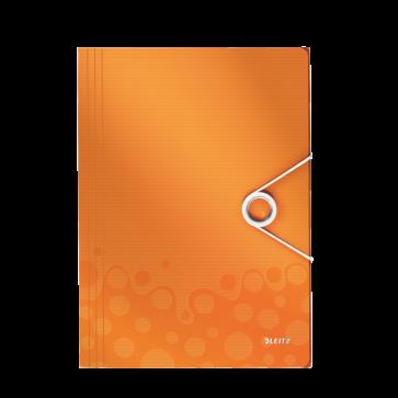 Mapa din plastic, A4, cu elastic, portocaliu metalizat , LEITZ WOW