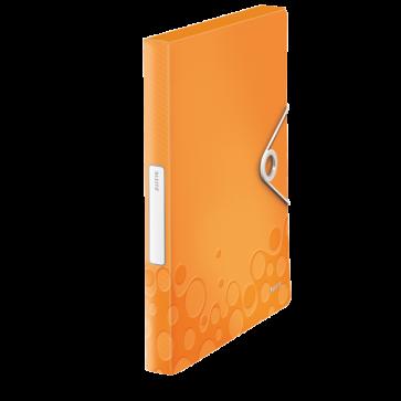 Mapa din plastic, A4, cu elastic, portocaliu metalizat, LEITZ WOW Jumbo