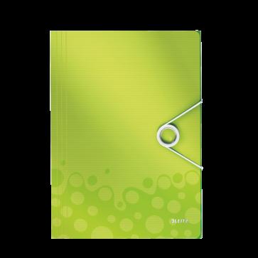 Mapa din plastic, A4, cu elastic, verde metalizat , LEITZ WOW