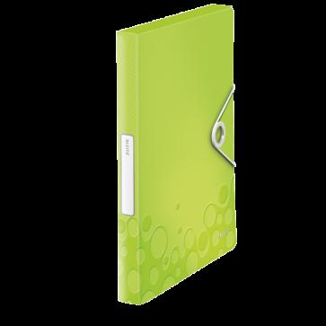 Mapa din plastic, A4, cu elastic, verde metalizat, LEITZ WOW Jumbo