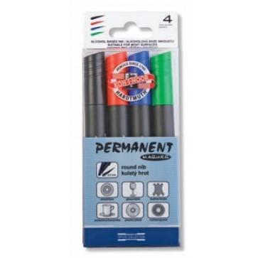 Marker permanent, 2.5mm, 4 culori/set, KOH-I-NOOR 4005