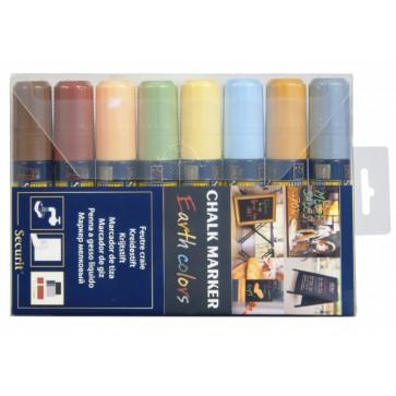 Marker cu creta, 8 culori/set, SECURIT SMA720