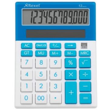 Calculator de birou, 12 digiti, albastru, REXEL JOY