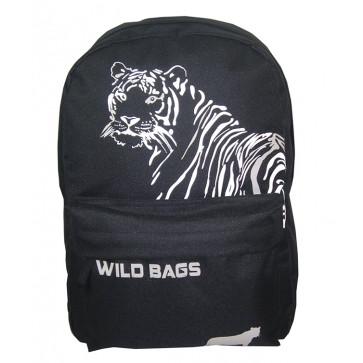 Ghiozdan scolar, 42 x 30 x 14cm, negru, PIGNA School Friendly Wild Bags