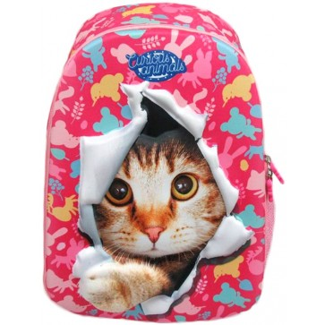 Troller, clasele 1-4, albastru, CURIOUS ANIMALS 3D Pisica