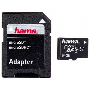 Card de memorie microSDXC 64GB Clasa 10 UHS-I + adaptor, HAMA