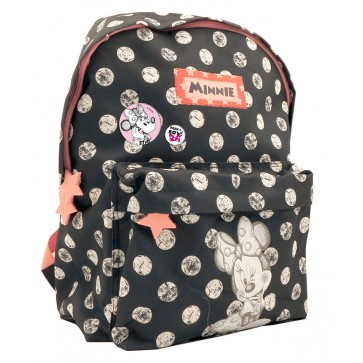 Ghiozdan, gimnaziu, negru cu buline, PIGNA Minnie Mouse