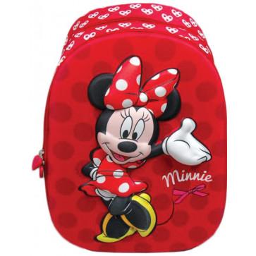 Ghiozdan, clasele 1-4, 2 fermoare, rosu, PIGNA Minnie Mouse 3D