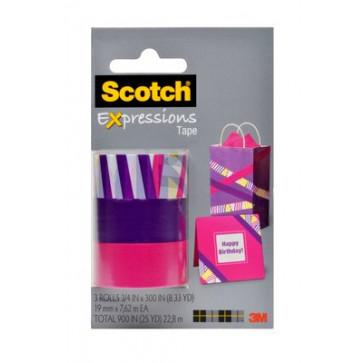 Banda adeziva decorativa, dungi multicolore - mov - roz, blister, SCOTCH