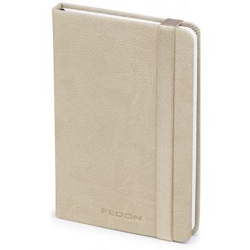 Caiet de birou A6, bej, din imitatie de piele, FEDON Notebook