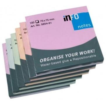 Notesuri autoadezive (6 seturi), 75 x 75mm, 100 file/set, diferite culori, INFO NOTES Harmony