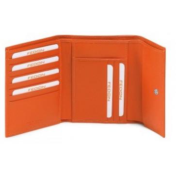 Portofel dame, portocaliu, din piele de bovina, FEDON Classica Foglio D2