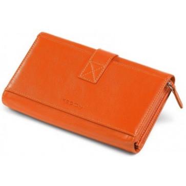 Portofel dama, portocaliu, din piele de bovina, FEDON Classica P-Foglio-D-6