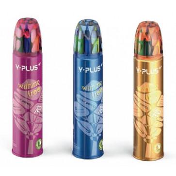 Creioane colorate, tub metal, 12 culori/set, PIGNA Y-Plus+