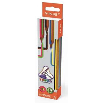 Creioane colorate, forma ergonomica, 12 culori/set, PIGNA Y-Plus+