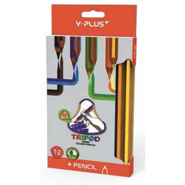 Creioane colorate, forma ergonomica, 12 culori/set, PIGNA Jumbo Y-Plus+