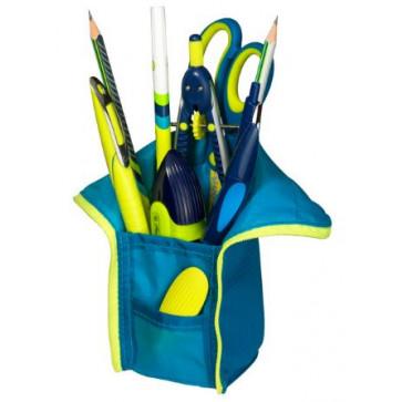 Penar tip etui, 1 compartiment si suport instrumente de scris, albastrulemon, HERLITZ