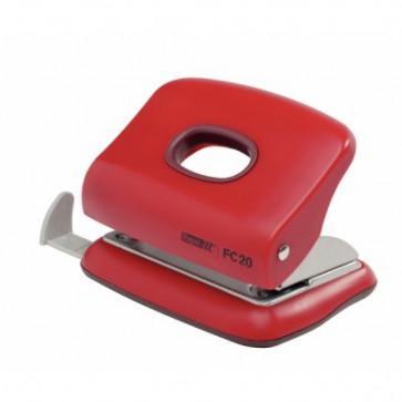 Perforator de birou, pentru maxim 20 coli, rosu, RAPID Fashion FC20
