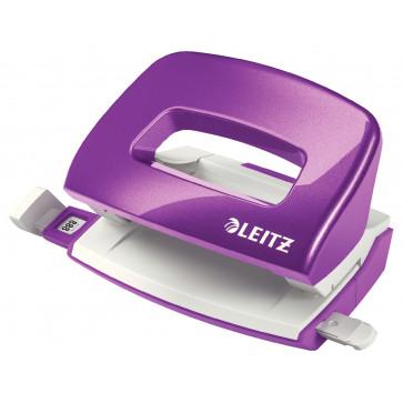Perforator metalic de birou, pentru maxim 10 coli, mov metalizat, LEITZ MINI 5060 NeXXt Series