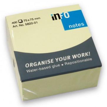 Notes autoadeziv, 75 x 75mm, 400 file/set, galben pastel, INFO NOTES