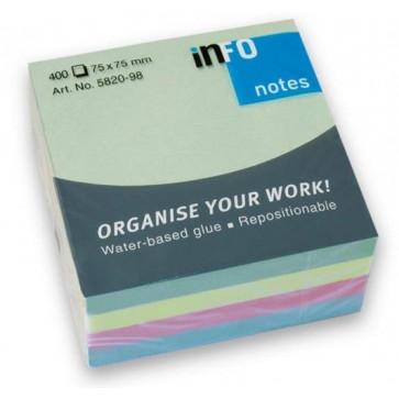 Notes autoadeziv, 75 x 75mm, 400 file/set, diferite culori pastel, INFO NOTES
