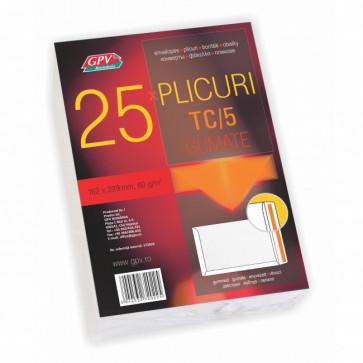 Plic C5 (162 x 229mm), gumat, alb, 80 g/mp, 25 bucati/pachet, GPV