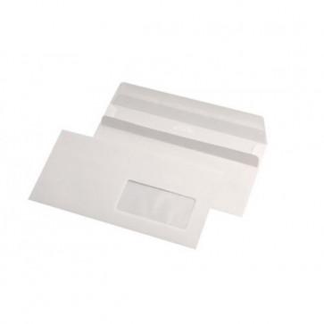 Plic DL (110 x 220mm), autoadeziv, alb, 80 g/mp, cu fereastra dreapta, 25 bucati/pachet, GPV