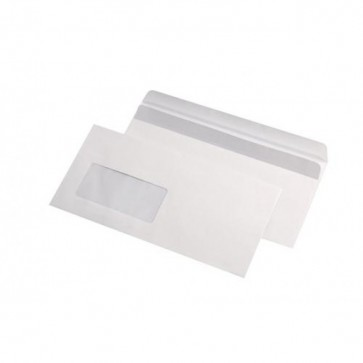 Plic DL (110 x 220mm), autoadeziv, alb, 80 g/mp, cu fereastra stanga, 1000 buc./cutie, GPV