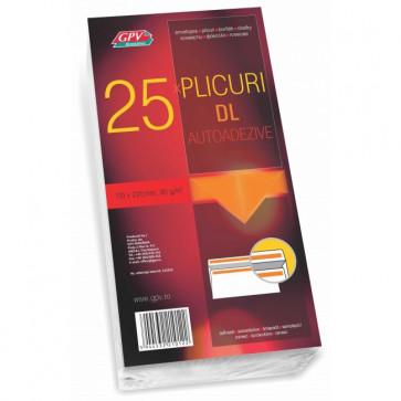 Plic DL (110 x 220mm), autoadeziv, alb, 80 g/mp, fara fereastra, 25 bucati/pachet, GPV