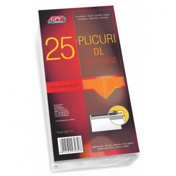 Plic DL (110 x 220mm), siliconic, alb, 80 g/mp, fara fereastra, 25 bucati/pachet, GPV