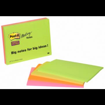 Notes autoadeziv pentru conferinte, 200 x 129mm, 45 file/set, diferite culori intense, POST-IT Super Sticky 6845-SS EU